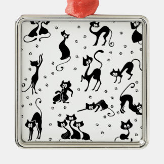 cats and paws gatose footprints metal ornament
