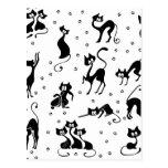 cats and paws gatose footprints postcard