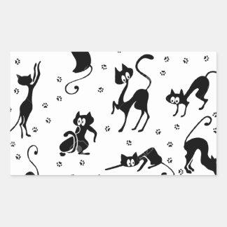 cats and paws gatose footprints rectangular sticker