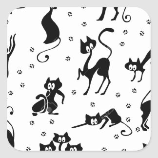cats and paws gatose footprints square sticker