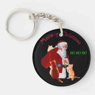 Cats and Santa Keychain