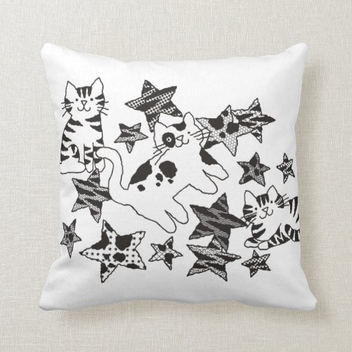 Cats and Stars Pillow