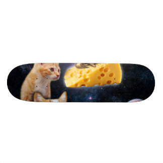 Cats and the mouse on the cheese skateboard