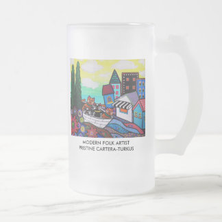Cats and Tropics Frosted Glass Beer Mug