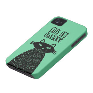 Cats are awesome Green iPhone 4 Cover