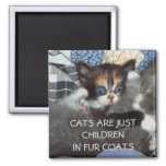 CATS ARE JUST CHILDREN IN FUR COATS 2 INCH SQUARE MAGNET