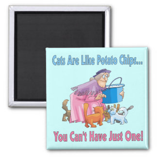 Cats Are Like Potato Chips 2 Inch Square Magnet