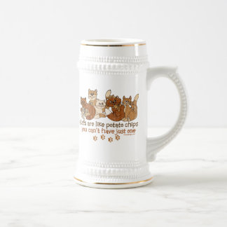 Cats are like potato chips beer stein