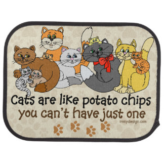 Cats are like potato chips car floor mat