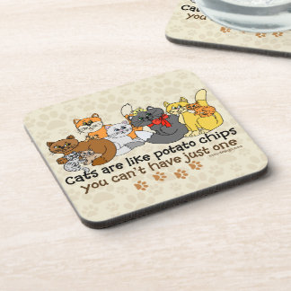 Cats are like potato chips beverage coaster
