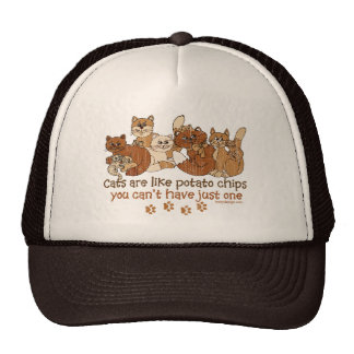 Cats are like potato chips Distressed Trucker Hat