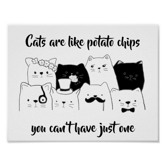 65d333cab Cats Are Like Potato Chips / Funny Cat Doodle Poster   Zazzle.com