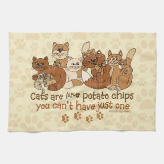 Cats are like potato chips Grunge Version Hand Towel