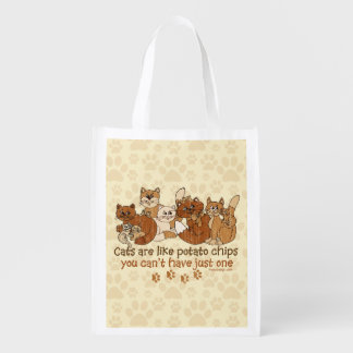 Cats are like potato chips Grunge Version Reusable Grocery Bag