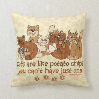 Cats are like potato chips Grunge Version Throw Pillow