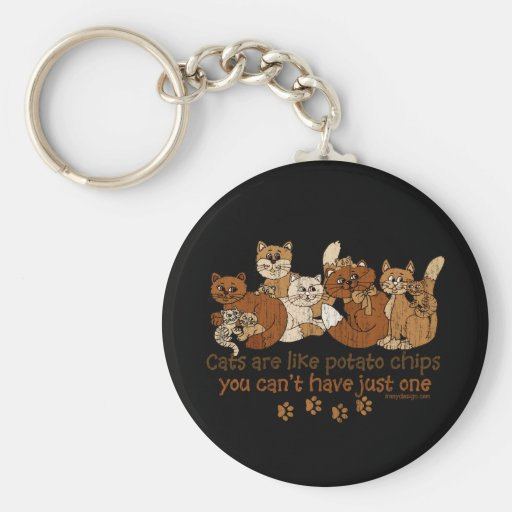 Cats are like potato chips key chains