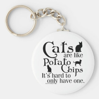 Cats are like potato chips... basic round button keychain