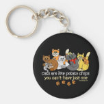 Cats are like potato chips basic round button keychain