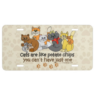 Cats are like potato chips license plate
