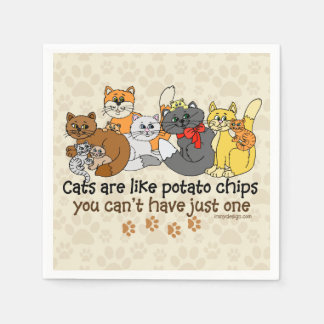 Cats are like potato chips paper napkin