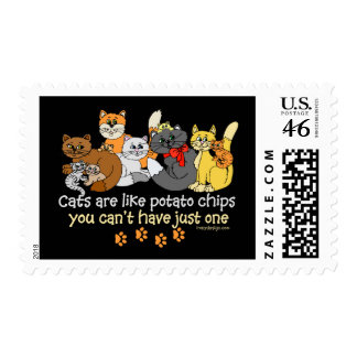Cats are like potato chips postage stamp