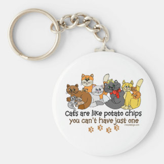 Cats are like potato chips Saying Basic Round Button Keychain