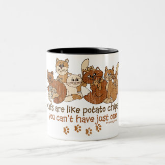 Cats are like potato chips Two-Tone coffee mug