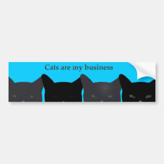 """Cats Are My Business"" black cats with blue Bumper Sticker"
