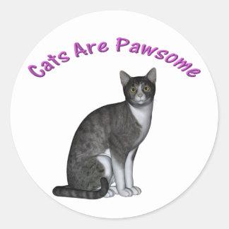 Cats Are Pawsome Classic Round Sticker
