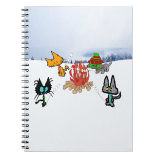 Cats Around A Campfire Roasting Marshmellows Note Book