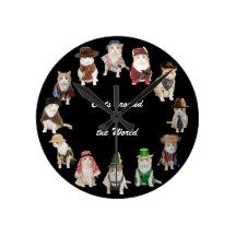 Cats around the World Wall Clock