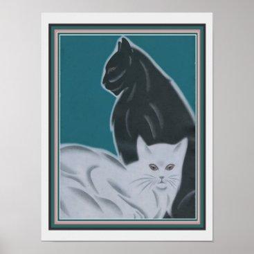 Art Themed Cats Art Deco Print by Frank Mackintosh