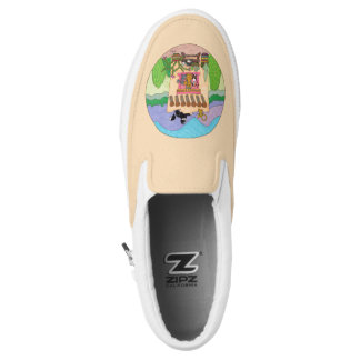 Cats at an Orange Adobe House Personalized Slip-On Sneakers