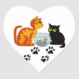 Cats At Play Heart Sticker