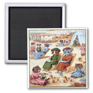 Cats at the Beach by Louis Wain 2 Inch Square Magnet