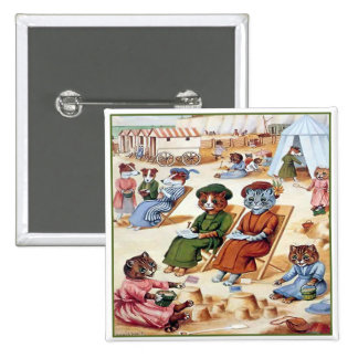 Cats at the Beach by Louis Wain Pinback Button