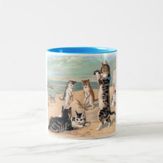 Cats at the Beach Two-Tone Coffee Mug