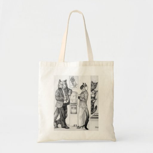 Cats at the Office Watercooler Canvas Bags