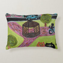 Cats at the Park painting Accent Pillow