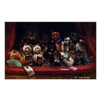 Cats at the Theater for a Play Louis Wain Poster