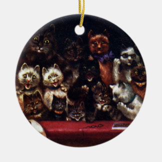 Cats at the Theater for Christmas Louis Wain Ceramic Ornament