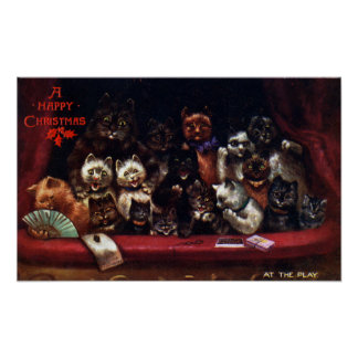 Cats at the Theater for Christmas Louis Wain Posters