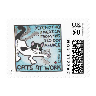 """Cats At Work: Defending America..."" stamp"