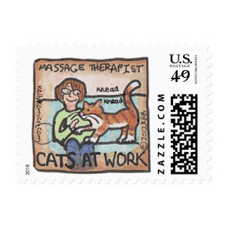 """Cats At Work: Massage Therapist"" stamp"