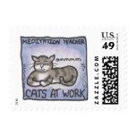 """Cats At Work: Meditation Teacher"" postage"
