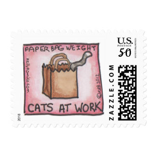 """Cats At Work: Paper Bag Weight"" stamp"
