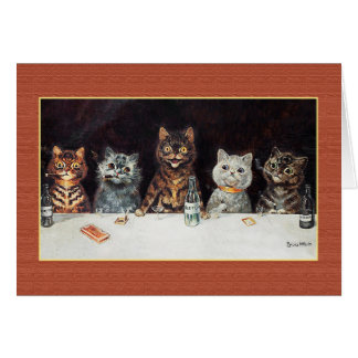 CATS BACHELOR PARTY, Vintage Louis Wain Card