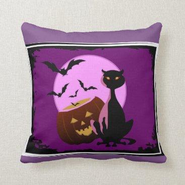 Halloween Themed Cats & Bats & Pumpkins Decorative Pillow