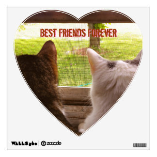 Cats - Best Friends Forever Heart Wall Decal