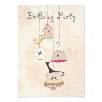 Cats birdcages butterflies birthday Invites